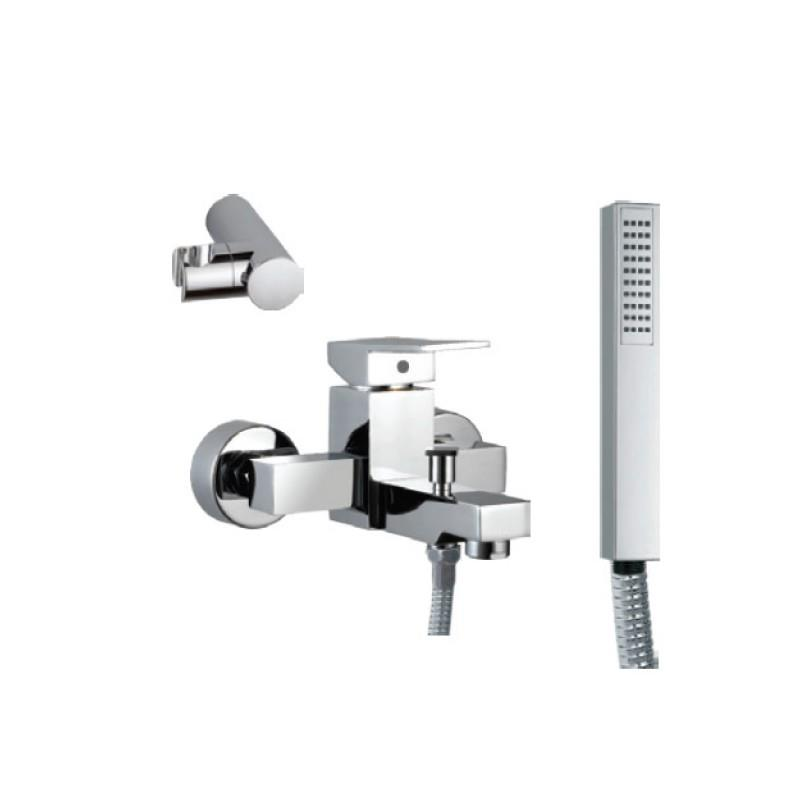 Kubix Single Lever Bath & Shower Mixer (Wall Mounted) with Hand Shower, Plastic Coated Shower Hose and Wall Bracket (35119, 35537, 571 & 555)