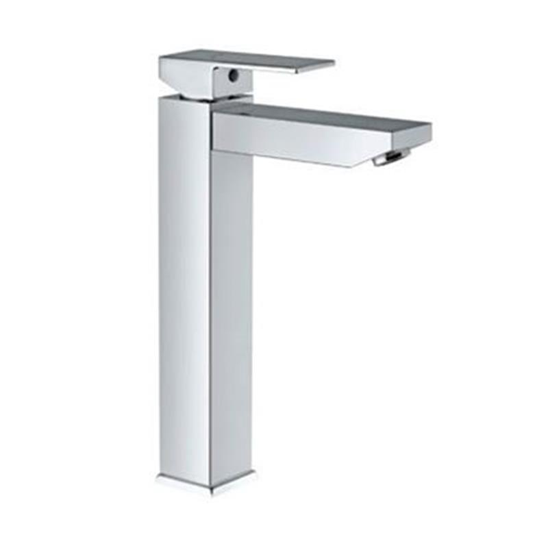 Kubix Single Lever High Neck Basin Mixer (200mm Extension Body) Without Popup Waste, with 600mm Long Braided Hoses, HP 1.0