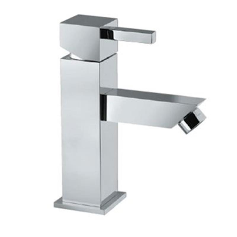 Kubix Single Lever Mini Basin Mixer without Popup Waste, with 375mm Long Braided Hoses, HP 1.0