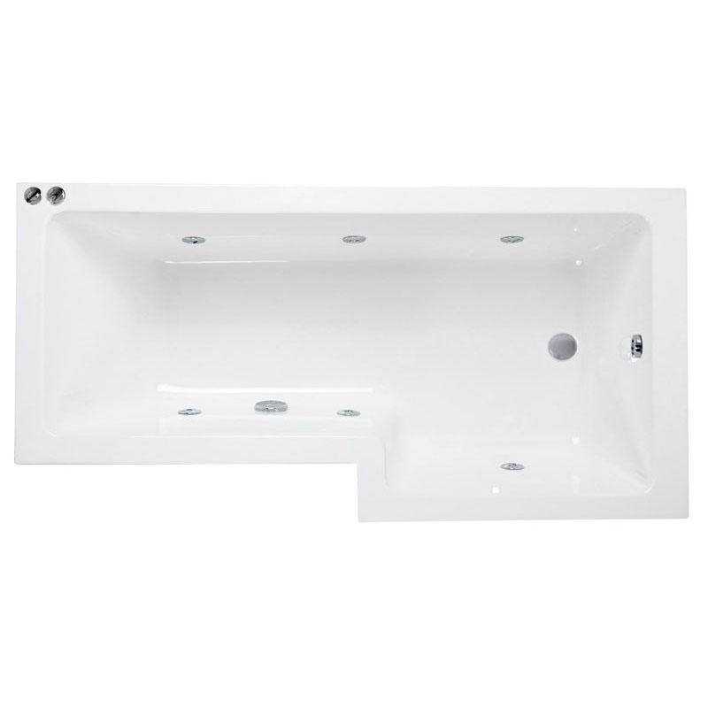 L Shaped Whirlpool Shower Bath (Right Hand) with Front Bath Panel