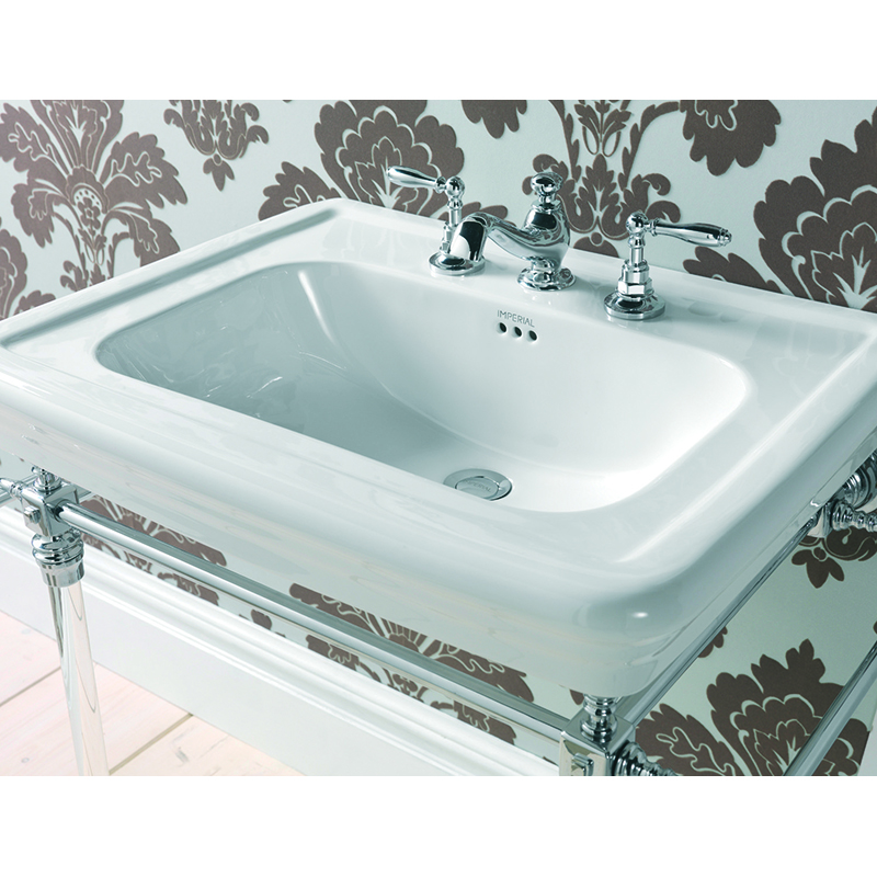 Large Basin 700mm 1TH White with Etoile Harwick Basin Stand Polished Nickel