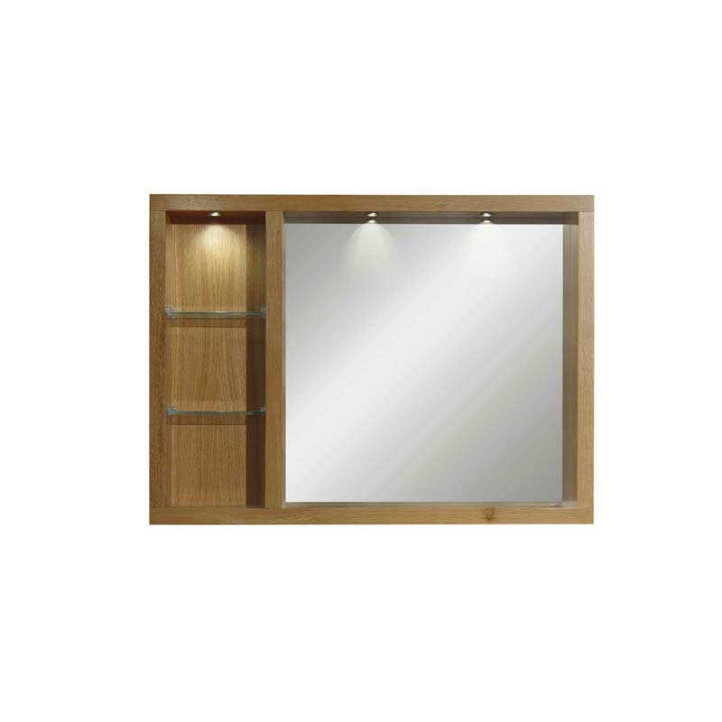 Large Box Mirror with Glass Shelves & Lights Rosedale White
