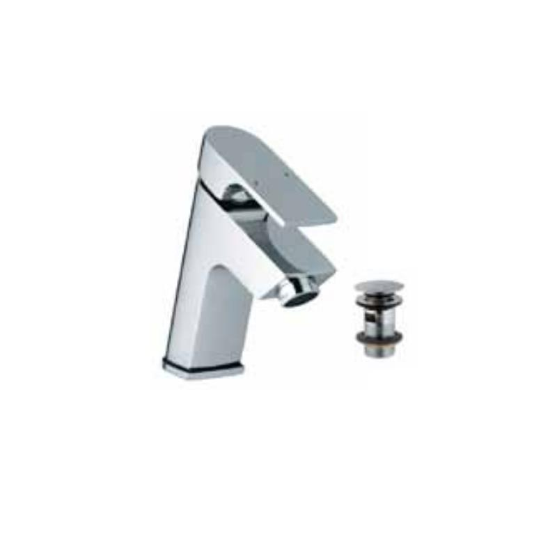 Lyric Single Lever Basin Mixer with 375mm Long Braided Hoses & Click Clack Basin Waste, Slotted (ALD-729), HP 1.0