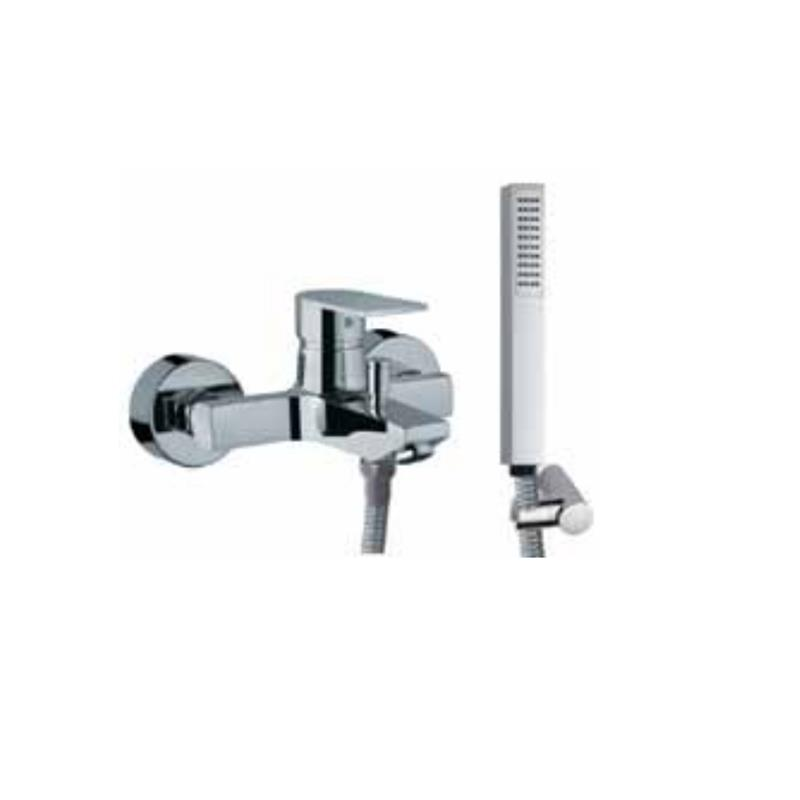 Lyric Single Lever Bath & Shower Mixer (Wall Mounted) with Hand Shower, Plastic Coated Shower Hose and Wall Bracket (38119, 35537, 571 & 555)