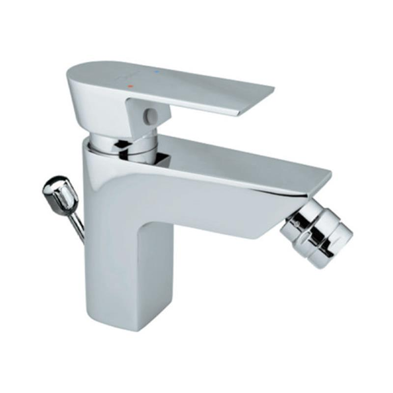 Lyric Single Lever Bidet Mixer with Popup Waste & 375mm Long Braided Hoses, HP 1.0