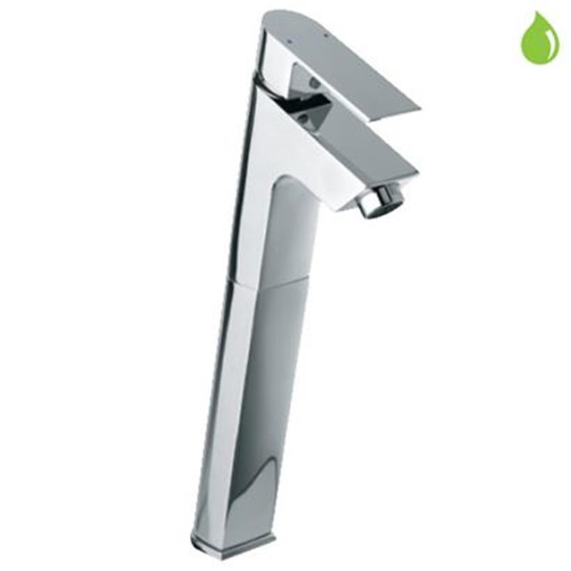 Lyric Single Lever High Neck Basin Mixer (150mm Extension Body) Without Popup Waste, with 600mm Long Braided Hoses, HP 1.0