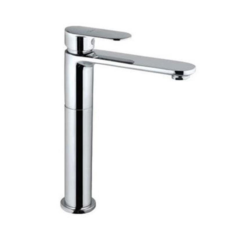 Lyric Single Lever High Neck Basin Mixer (150mm Extension Body) without Popup Waste, with 600mm Long Braided Hoses