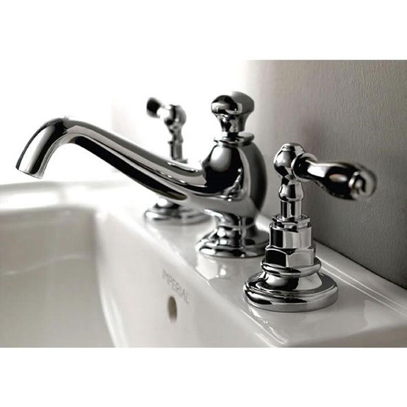 Notte 3-hole basin mixer kit (Chrome with Black ceramic handles)