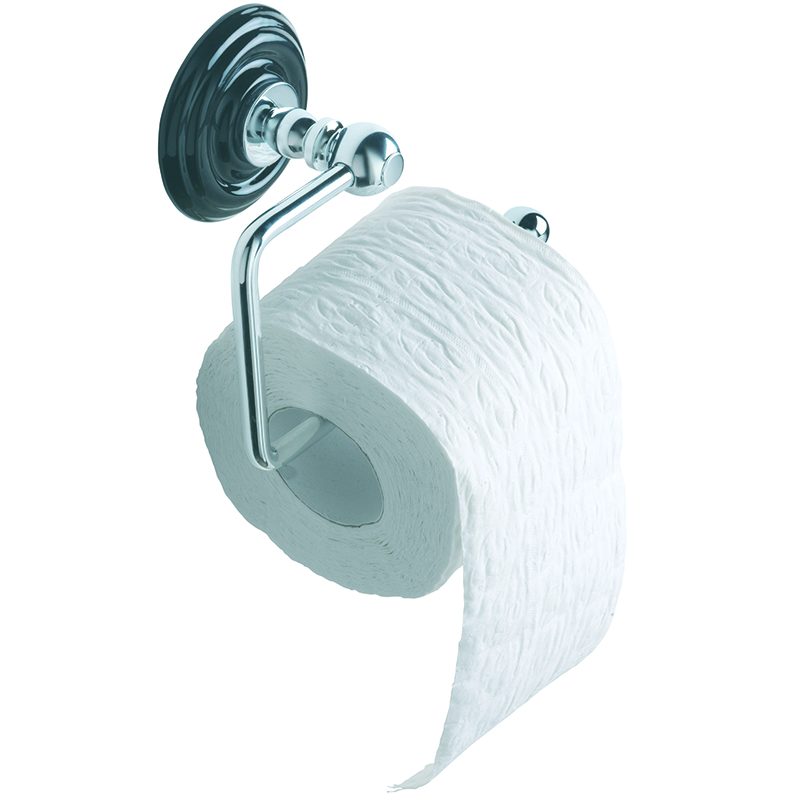 Oxford Wall Mounted Toilet Roll Holder Black/Chrome