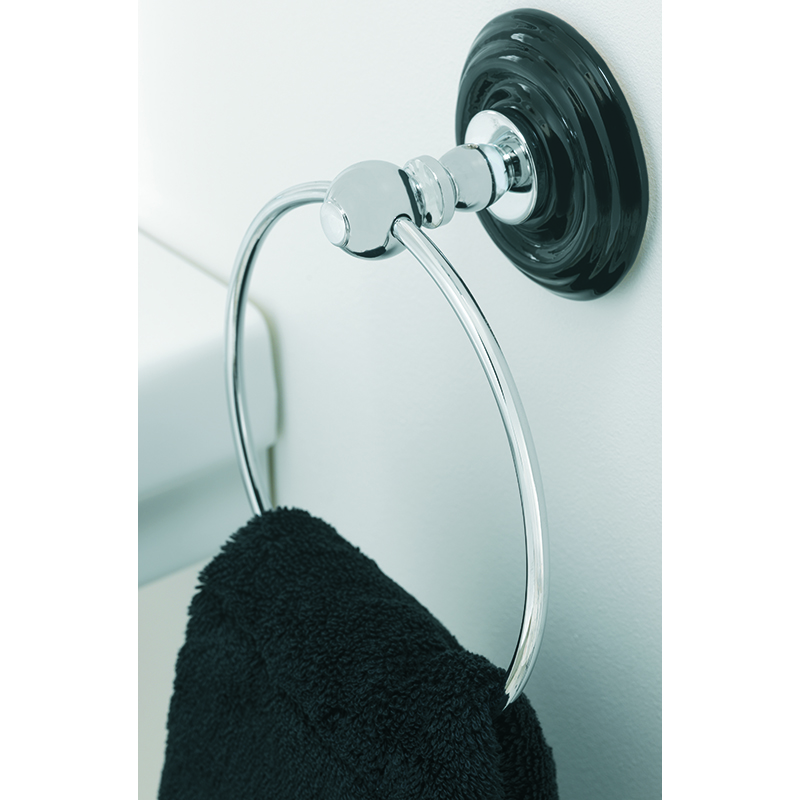 Oxford Wall Mounted Towel Ring Black/Chrome