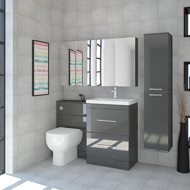 Petello Grey Anthrecite Bathroom Furniture Suite with 2 Mirror cabinets