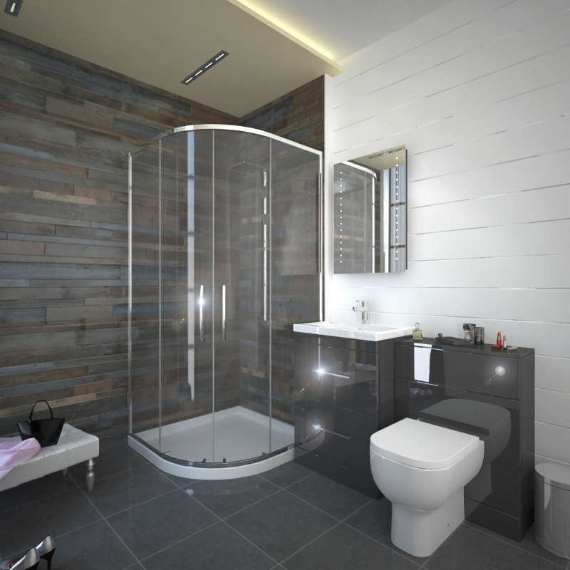 Black White And Silver Bathroom: Patello Grey 800 Quadrent Shower Suite Buy Online At