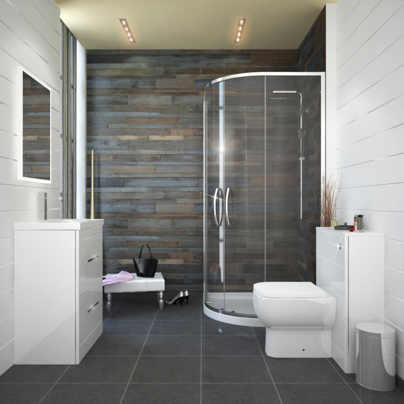 Patello White 800 Quadrent Shower suite