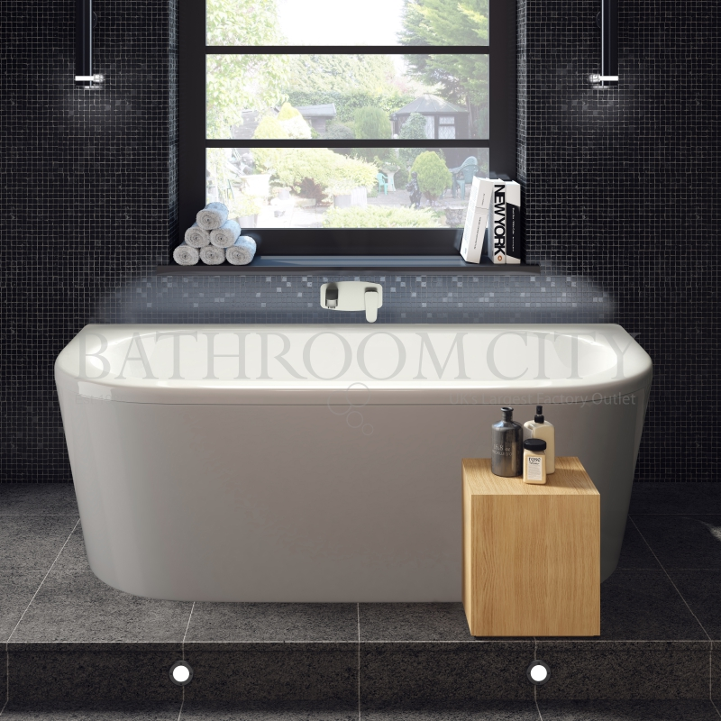 Pearl D shape Back To Wall Bath 1700 x 800 With Panel