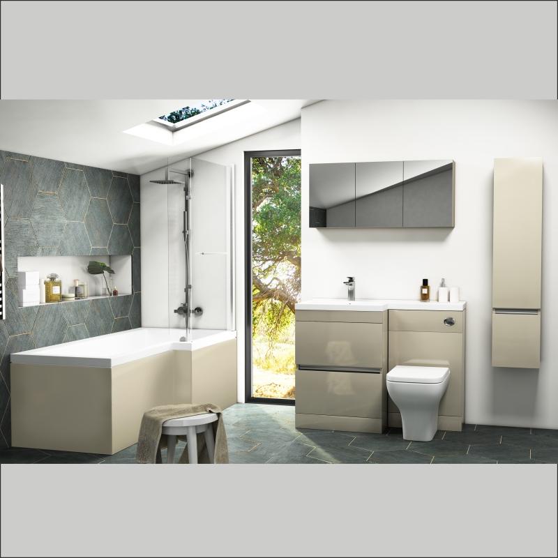 Pemberton L shape Bath Bathroom Furniture Suite Left Hand