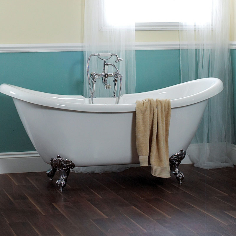 Phoenix Double Ended Slipper Bath with Chrome Feet