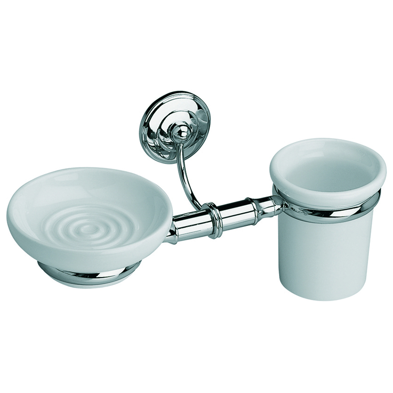 Rondine Wall Mounted Soap Dish and Tumbler White/Chrome