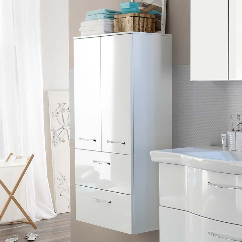 Solitaire 6005 Wall Hung Tall Double Bathroom storage cupboard 2 draw 2 door