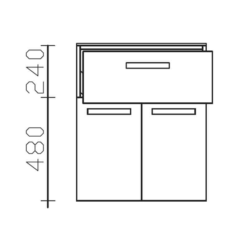 Solitaire 7005 Highboard 1 draw 2 door 600 bathroom storaqge unit