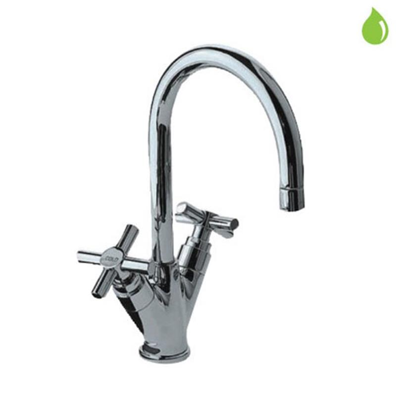 Solo Monoblock Basin Mixer with popup waste & 375mm Long Braided Hoses, LP 0.3