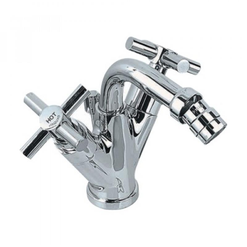 Solo Monoblock Bidet Mixer with Popup Waste & 375mm Long Braided Hoses, LP 0.3