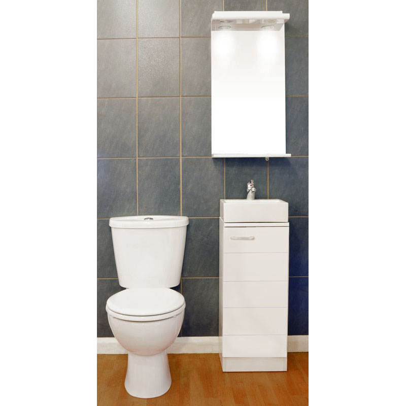 Spark Mercury 325 Vanity Unit with Ceramic Basin, Poma Tap, Waste and Close Coupled Toilet with Seat