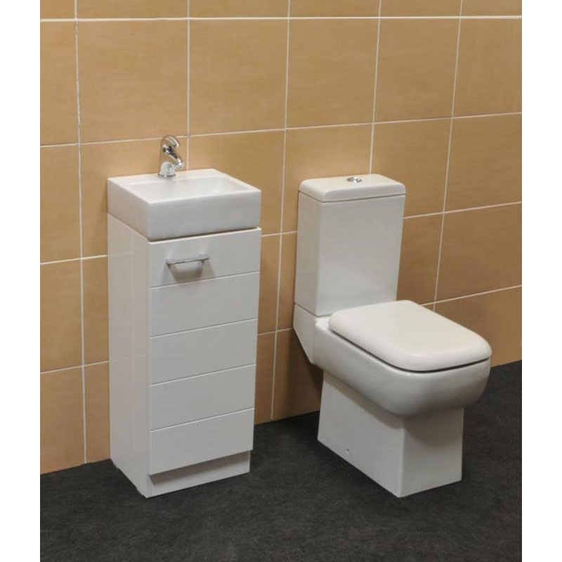 Spark Mercury White Cloakroom Suite with Poma Mini Tap