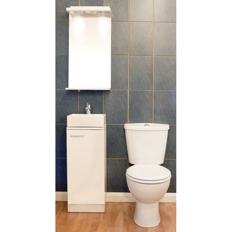 Spark Plane 325 Vanity Unit with Ceramic Basin, Poma Tap, Waste and Close Coupled Toilet with Seat