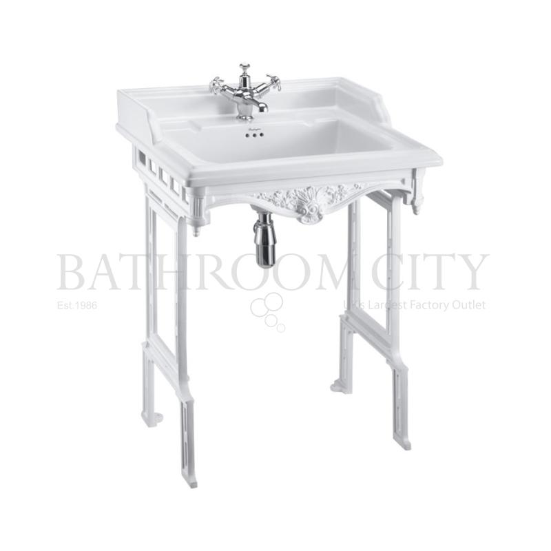 Classic 650 Rectangular basin and White Aluminium Basin Stand 1TH