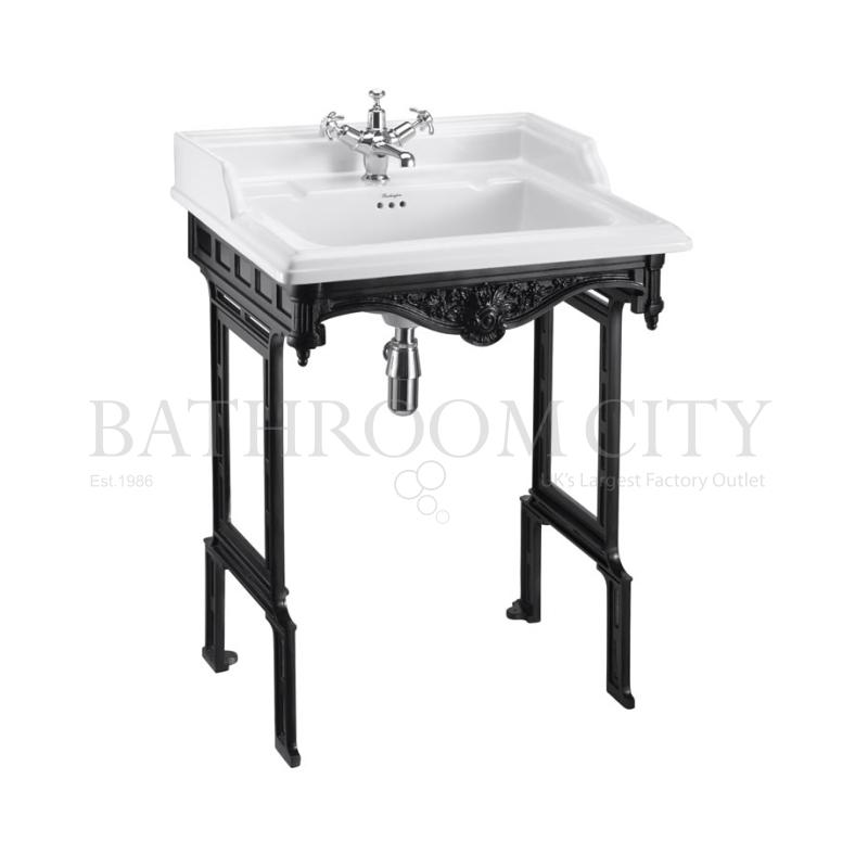 Classic 650 Rectangular basin and black Aluminium Basin Stand 1TH