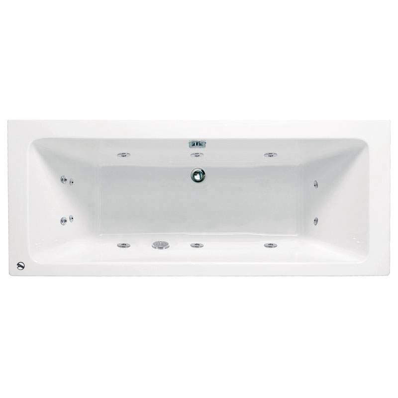 Vernwy 1700x750mm Acrylic Double Ended Bath with 8 Jets Whirlpool System