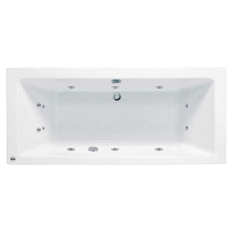 Vernwy 1800x900mm Acrylic Double Ended Bath with 8 Jets Whirlpool System