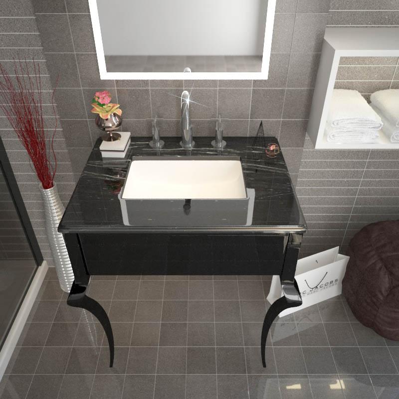 Victoriana Black Wash Stand and Basin 3TH
