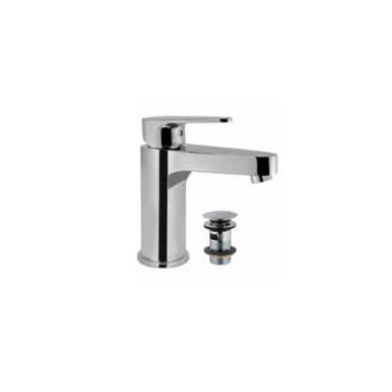 Vignette Prime Single Lever Basin Mixer with 375mm Long Braided Hoses & Click Clack Basin Waste, Slotted (ALD-729), HP 1.0
