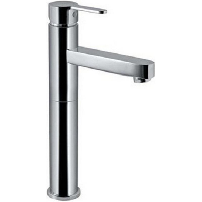 Vignette Prime Single Lever High Neck Basin Mixer (180mm Extension Body) without Popup Waste, with 600mm Long Braided Hoses, HP 1.0