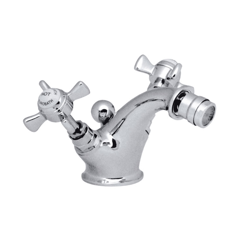 mono bidet mixer deck mounted with pop-up waste - chrome
