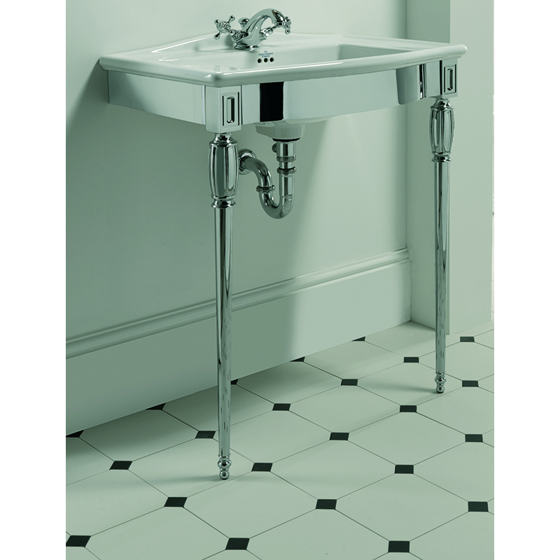 Westminster Vanity Basin 685mm 1TH Black with Troon Westminster Basin Stand Polished Nickel