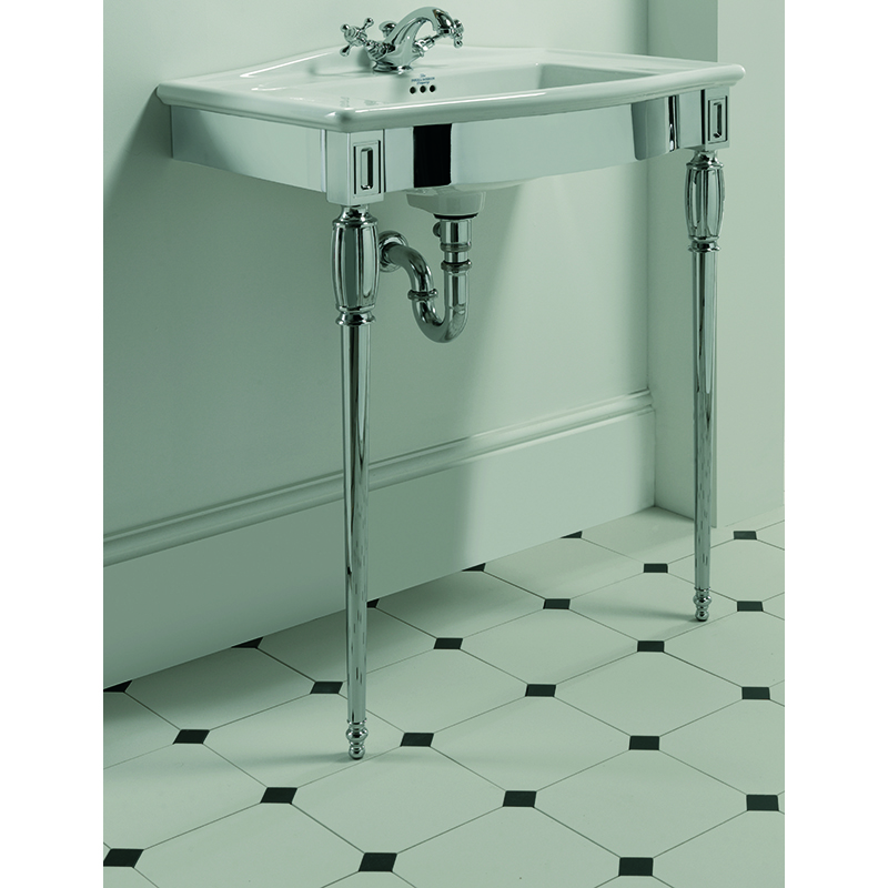 Westminster Vanity Basin 685mm 1TH Black with Troon Westminster Basin Stand Chrome
