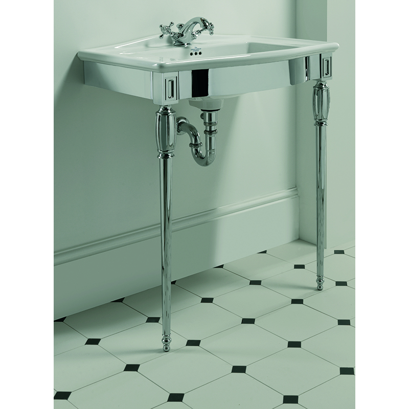 Westminster Vanity Basin 685mm 1TH White with Troon Westminster Basin Stand Polished Nickel