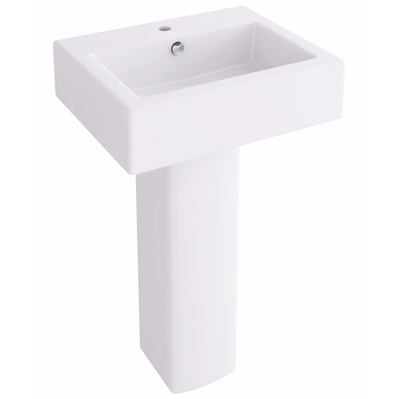 Arco / Str8 50cm Basin with one tap hole and pedestal
