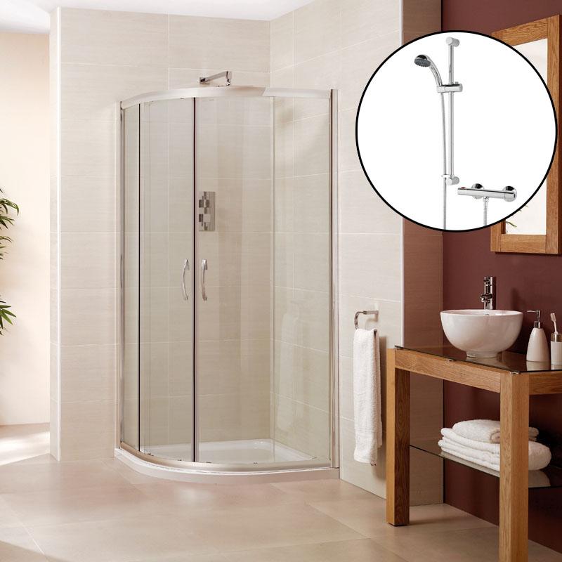 BC 800mm Quadrant Shower Enclosure slimline tray waste thermostatic valve
