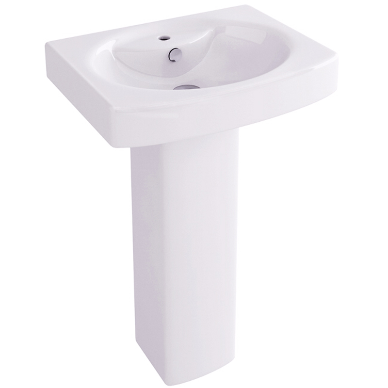 Dekka 55cm Basin with one tap hole and pedestal