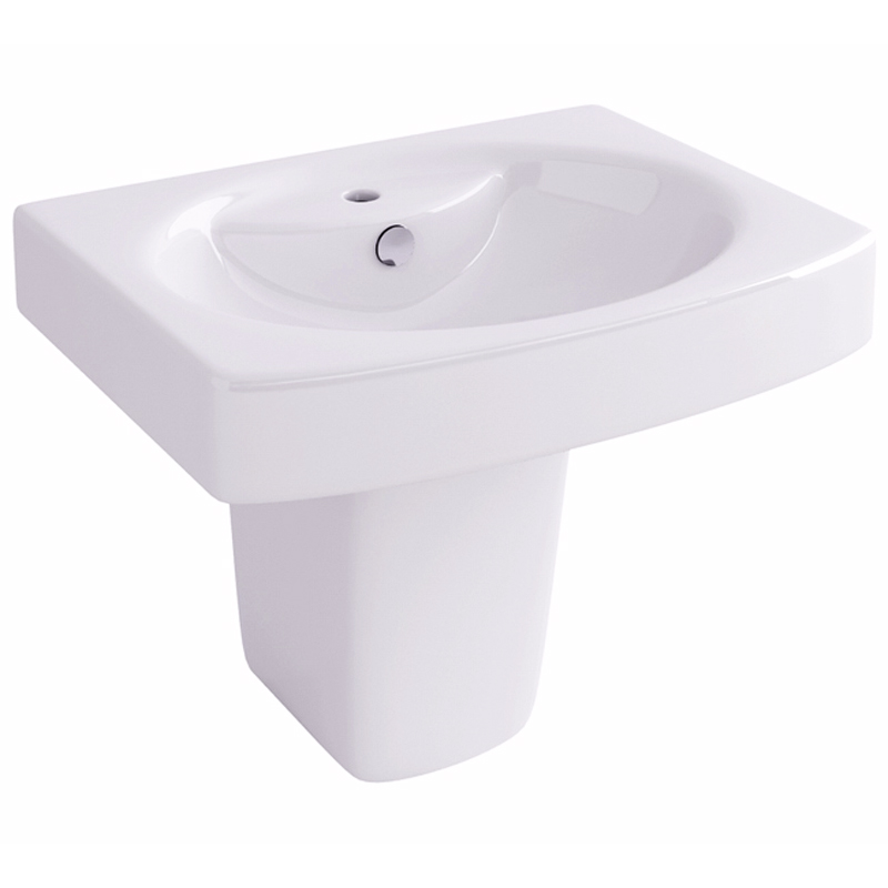 Dekka 55cm Basin with one tap hole and semi pedestal