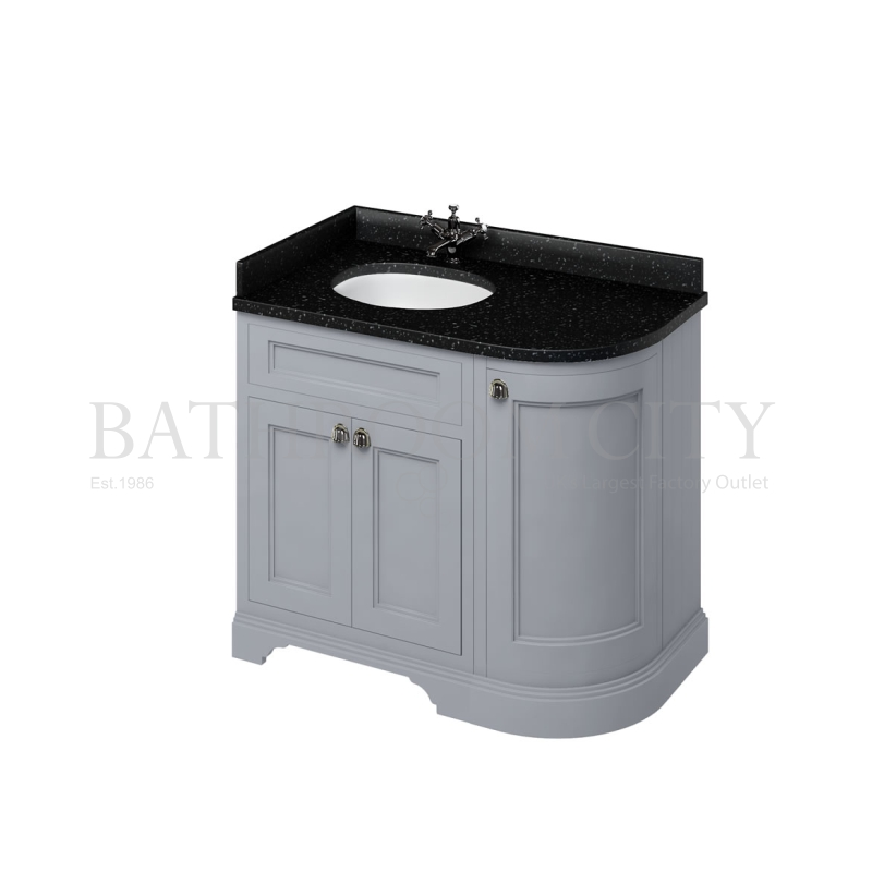 Freestanding 100 Curved Corner Vanity Unit Left Hand 'Door  - Grey