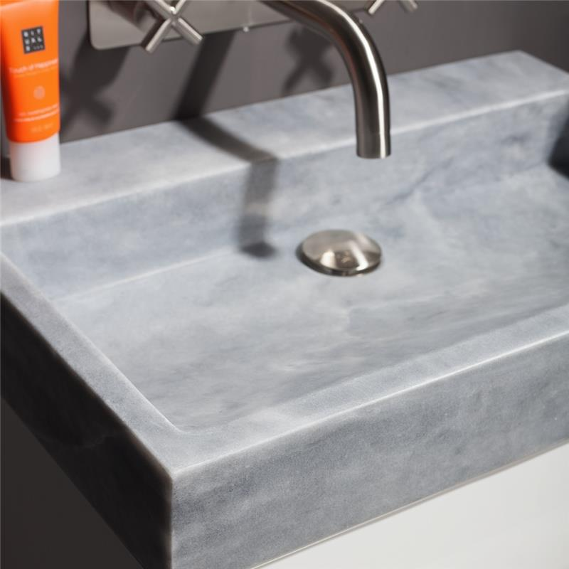 Palermo 80 Natural Stone Basin - Cloudy Marble No Tap Hole