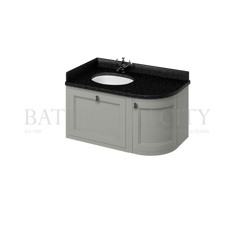 Wall Hung 100 Curved Corner Vanity Unit  Left Hand - Grey