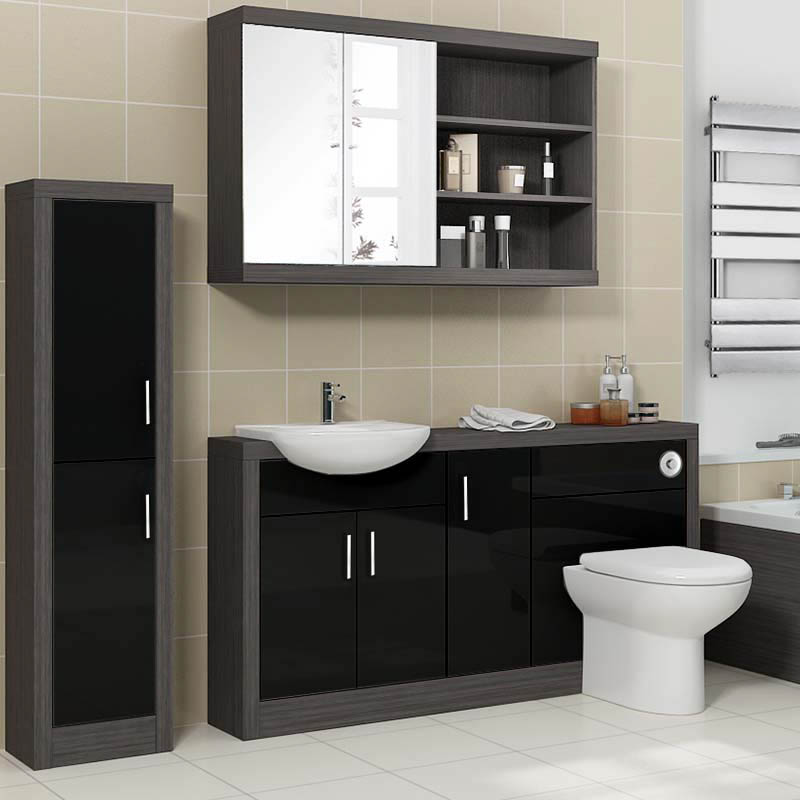 Black And White Bathroom Furniture: Hacienda 1500 Fitted Furniture Pack Black Buy Online At