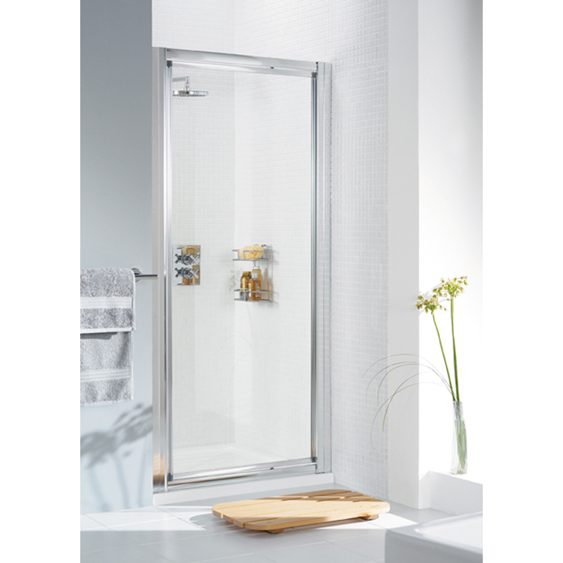 WHITE FRAMED PIVOT DOOR 750 x 1850 & 750 SIDE Panel