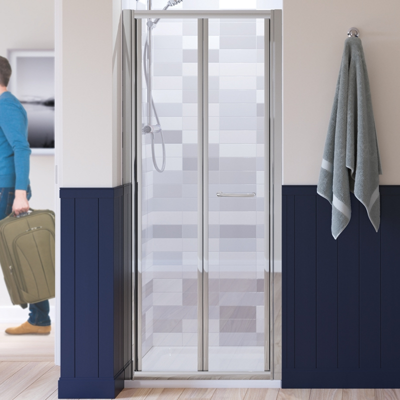 SILVER SEMI FRAMED BIFOLD DOOR 900 x 1850 & 700 SIDE Panel