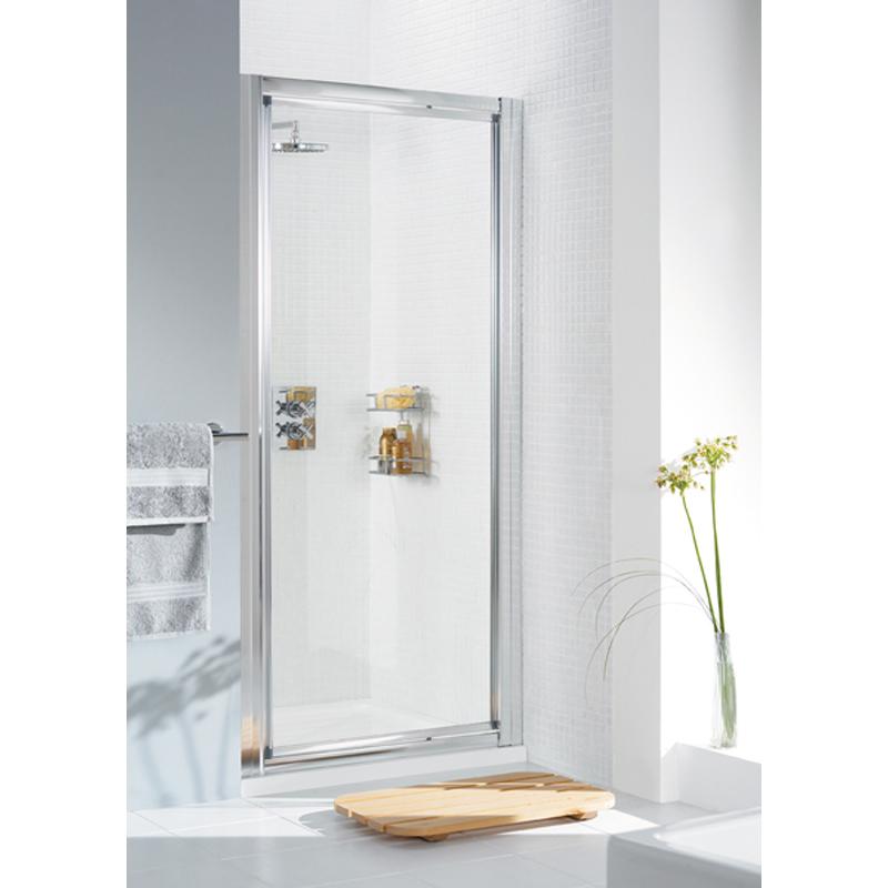 WHITE FRAMED PIVOT DOOR 900 x 1850 & 700 SIDE PANEL